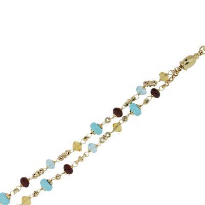 14k Yellow Gold Citrine Turquoise Garnet Bead Double Strand Bracelet