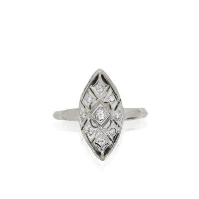 14k White Gold 0.21ctw Diamond Open Work Marquise Shape Ring