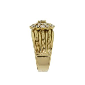 18k Yellow Gold 0.70ctw Diamond Flower Ribbed Ring