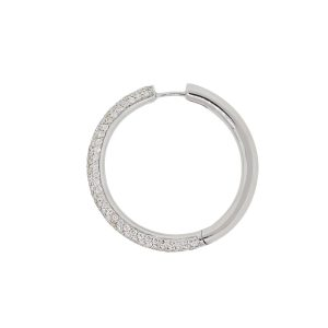 18k White Gold 1.74ctw Round Diamond Pave Hoop Earrings