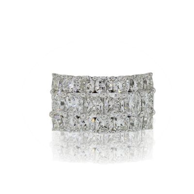 18k White Gold 5.86ctw Diamond Three Row Wide Ring