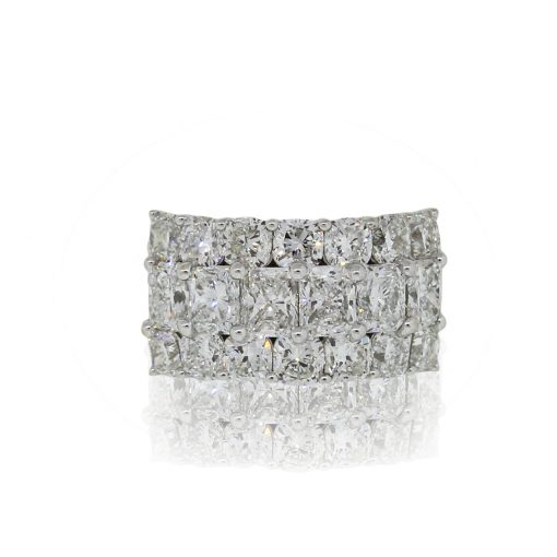 18k White Gold 5.86ctw Diamond Three Row Wide Ring