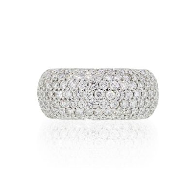 18k White Gold 3.67ctw Diamond Pave Wide Ring