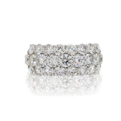 18k White Gold 5.18ctw Round Diamond Three Row Cocktail Ring