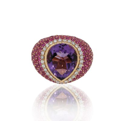 18k Rose Gold 0.58ct Diamond Pear Shape Amethyst Pave Dome Ring