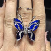 18k White Gold 0.96ctw Round Brilliant & Sapphire Moving Butterfly Ring