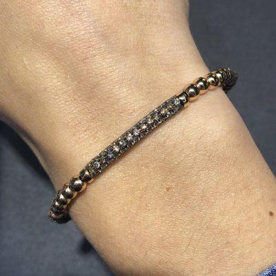 18k Rose Gold 1.19ctw Diamond Pave Stretch Bangle Bracelet