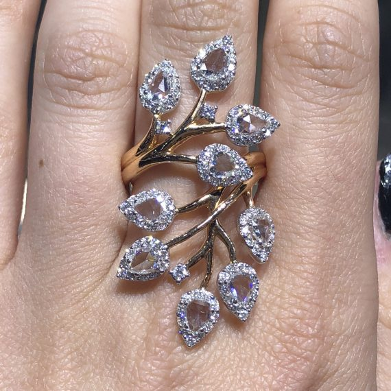 18 carat rose gold leaf pear shaped diamond halo cocktail ring