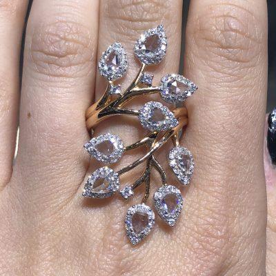 18k Rose Gold 3.24ctw Diamond Branch Bypass Ring