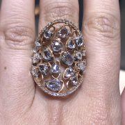 18k Rose Gold 3.31ctw Diamond Long Shield Ladies Ring