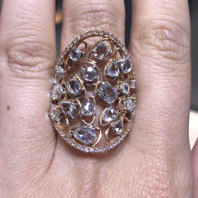 18k Rose Gold 3.31ctw Diamond Long Shield Ladies Ring