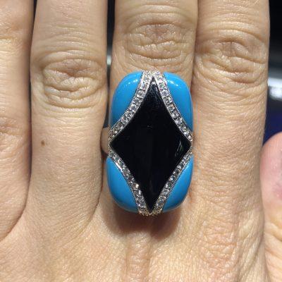 18k White Gold 0.37ctw Round Diamond Turquoise & Onyx Cocktail Ring