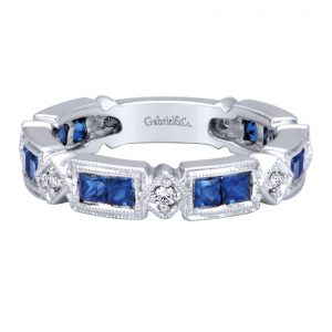 Gabriel & Co. LR4415W45SA 14k White Gold 0.13ctw Diamond and 1.62ctw Sapphire Band