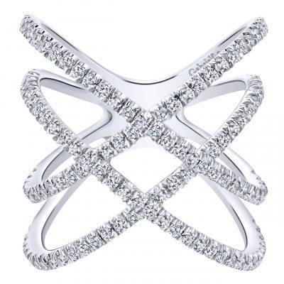 Gabriel & Co. LR50925W45JJ 14k White Gold 0.89ctw Diamond Layered Woven Ring
