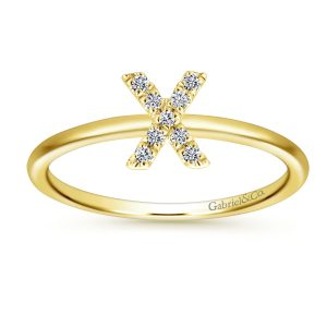 "Gabriel & Co. LR51164X-Y45JJ 14k Yellow Gold 0.06ctw Diamond ""X"" Initial Ring"