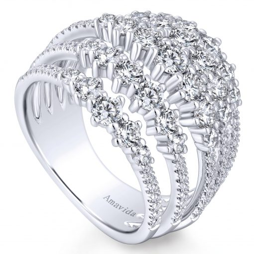 Gabriel & Co. LR51191W84JJ 18k White Gold 2.21ctw Round Diamond Wide Band