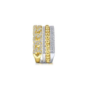Gabriel & Co. LR51517M45JJ 14k Two Tone 1.06ctw Round Diamond Wide Band