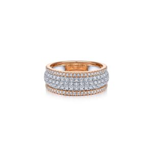 Gabriel & Co. LR51549T45JJ 14K Two Tone 1.02ctw Round Diamond Ladies Wide Band