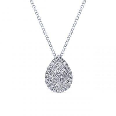 Gabriel & Co. NK4938W45JJ 14k White Gold 0.31ctw Diamond Pear Shape Pendant Necklace