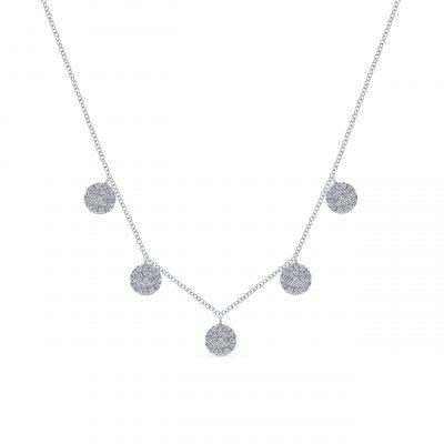Gabriel & Co. NK5327W45JJ 14k White Gold 0.75ctw Round Diamond Five Drop Necklace