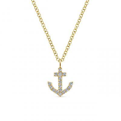 Gabriel & Co. NK5437Y45JJ 14k Yellow Gold 0.08ctw Diamond Anchor Pendant Necklace
