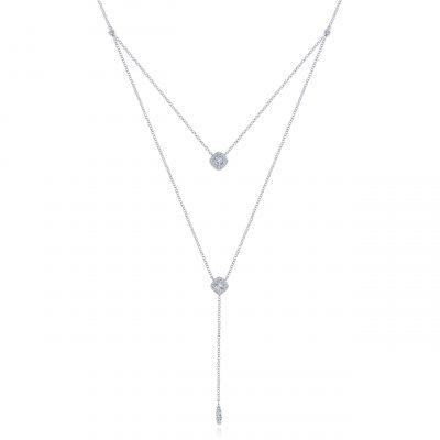 "Gabriel & Co. NK5807W45JJ 14k White Gold 0.34ctw Diamond Double ""Y"" Knot Necklace"
