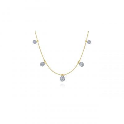 Gabriel & Co. NK6088M45JJ 14k Yellow Gold 0.47ctw Diamond Pave Necklace