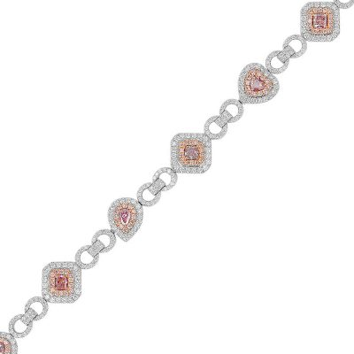 18k White Gold 3.94ctw Pink & White Diamond Multi Shape Ladies Bracelet
