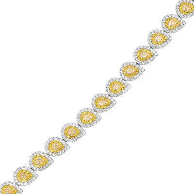 18k White Gold 10.66ctw Pear Shape Fancy Yellow & Round Brilliant Diamond Halo Bracelet