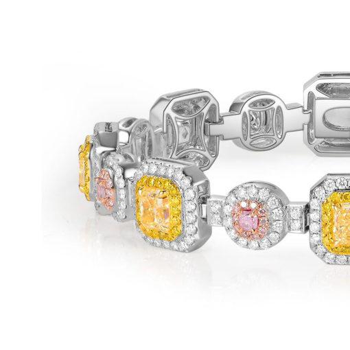 18k White Gold 10.09ctw Multicolor Diamond Halo Ladies Bracelet