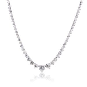 18k White Gold 22ctw Graduated Diamond Tennis Necklace