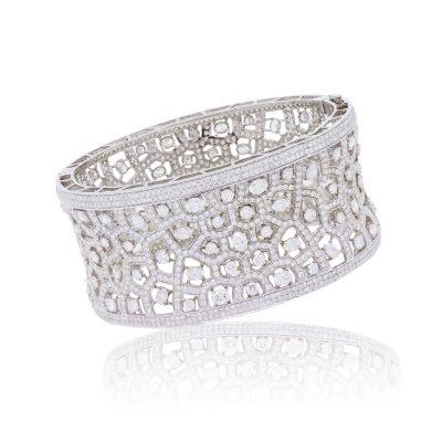 18k White Gold 21.29ctw Diamond Wide Bangle