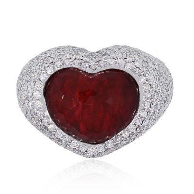 ruby heart diamond ring