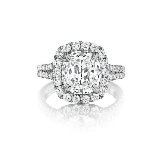 Henri Daussi AMDS823A 18k White Gold GIA Certified 1.02ctw Diamond Halo Engagement Ring