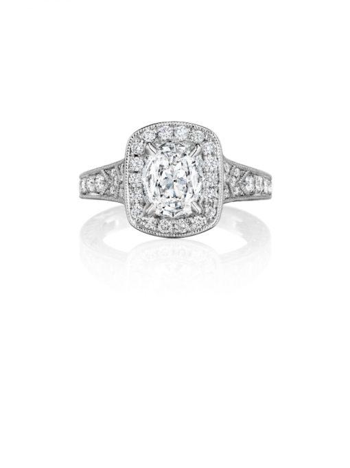 Henri Daussi AZP99O 18k White Gold 1.22ctw Diamond Halo Engagement Ring