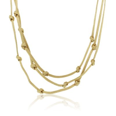 18k Yellow Gold 3 Strand Knot Necklace