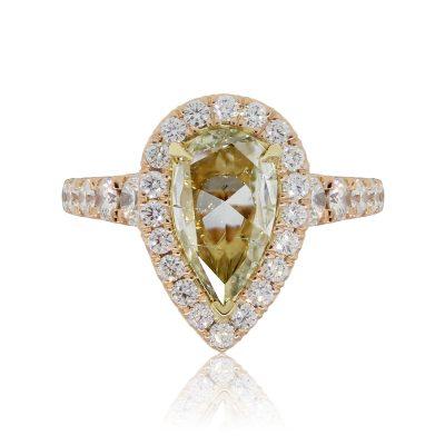Henri Daussi 18k Rose Gold 2.02ct Fancy Yellow Pear Shape Diamond and 1.11ctw Diamond Halo Engagement Ring