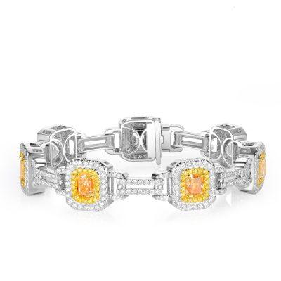 18k White Gold 10.62ctw White and Fancy Yellow Diamond Ladies Bracelet