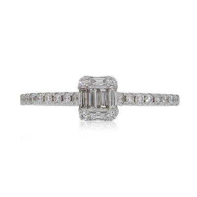 14k White Gold 0.33ctw Round Brilliant and Baguette Shape Diamond Mosaic Ring