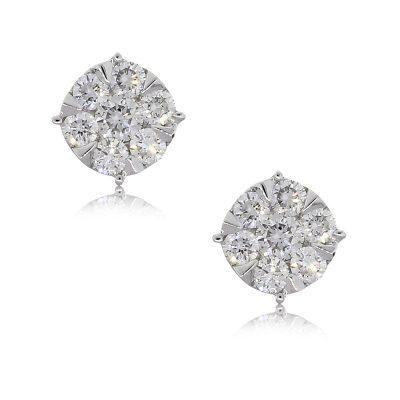 14k White Gold 0.54ctw Diamond Cluster Stud Earrings