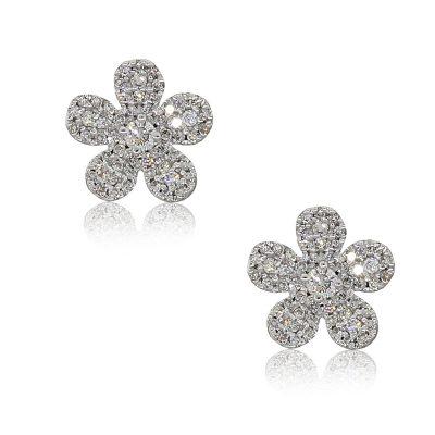 14k White Gold 0.35ctw Pave Diamond Cluster Flower Earrings