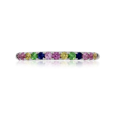 14k White Gold 0.34ctw Multicolor Gemstone Narrow Stackable Band