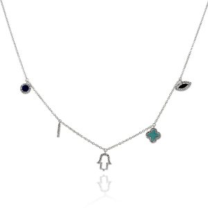 14k White Gold 0.17ctw Round Diamond Multi Charm Necklace