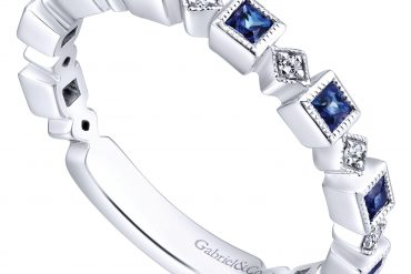 Gabriel & Co. LR4912W44SA 14k White Gold 0.07ctw Diamond and 0.47ctw Sapphire Stackable Ring
