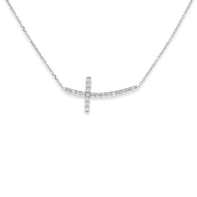 KC Designs 14k White Gold 0.50ctw Diamond Sideways Curved Cross Chain Necklace