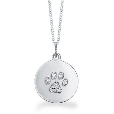 KC Designs 14k White Gold 0.07ctw Diamond Dog Paw Print Disc Pendant Necklace