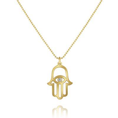 KC Designs 14k Yellow Gold 0.03ct Diamond Hamsa Pendant Bead Chain Necklace