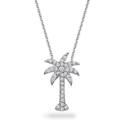 KC Designs 14k White Gold 0.38ctw Diamond Palm Tree Pendant Necklace