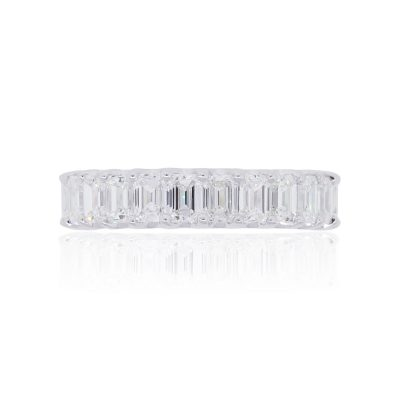 18k White Gold 2.50ctw Emerald Cut Diamond Wedding Band
