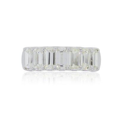 18k White Gold 2.41ctw Emerald Cut Diamond Wedding Band